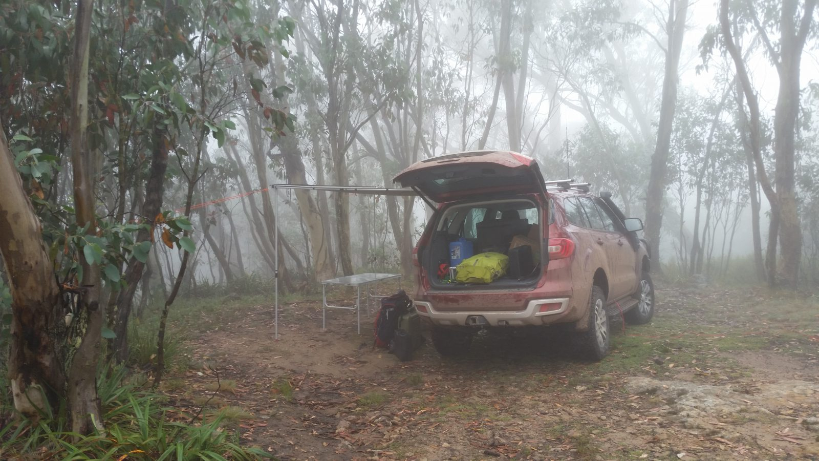 The Camp Creek site when we arrived - very foggy