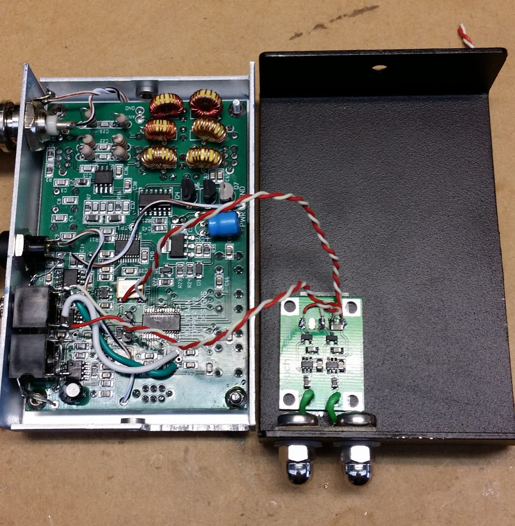 The touch keyer board and contacts are fitted to the base of the case