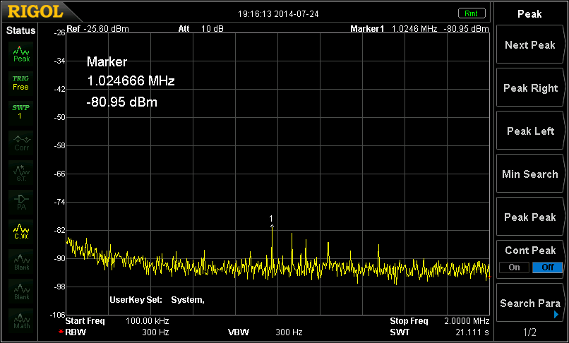 Broadcast band interference with the BCB filter in-line.